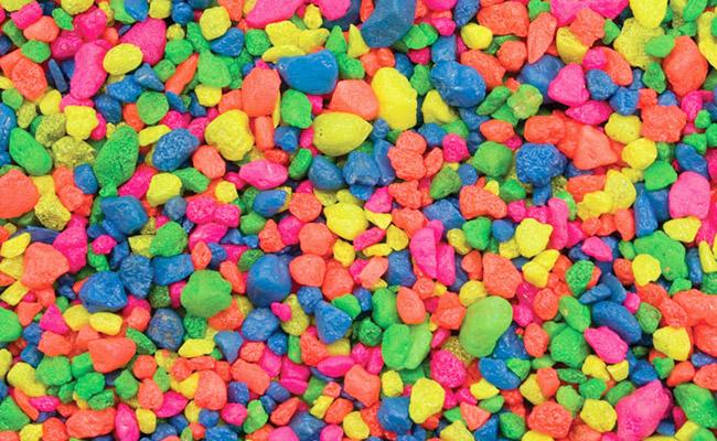 Rainbow pebbles for aquarium substrate