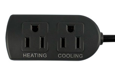 Heating and cooling sockets on aquarium temperature controller