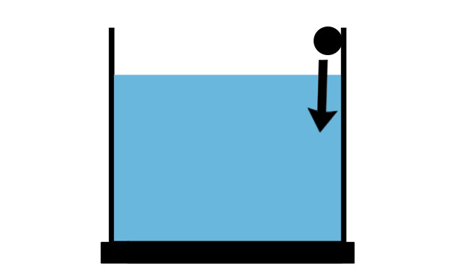 Diagram of spray bar positioned above water angled downward