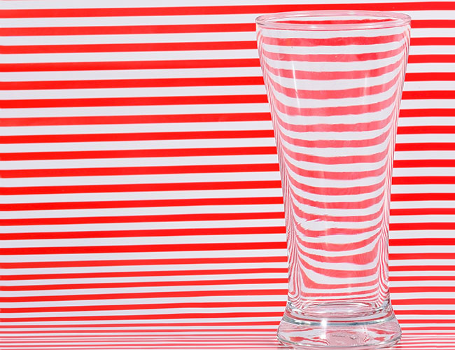 Example of refraction – lines through a drinking glass