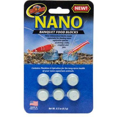 Nano time release feeding block for small fish, crabs, crayfish and shrimp
