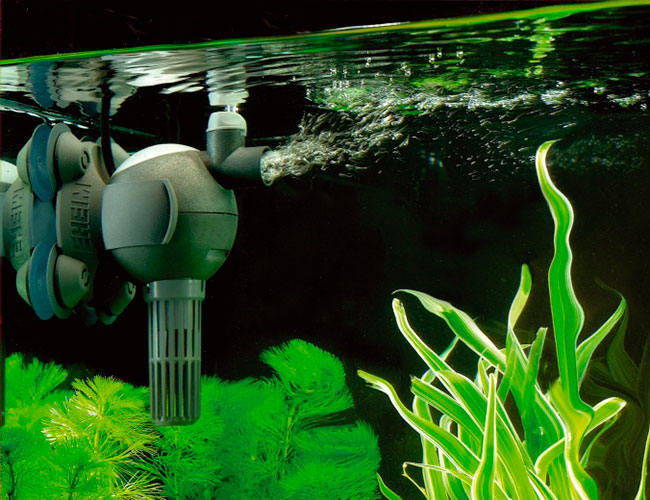 Powerhead agitating the surface water in fish tank