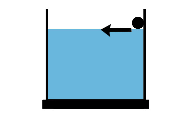 Spray bar with holes angled across the water diagram