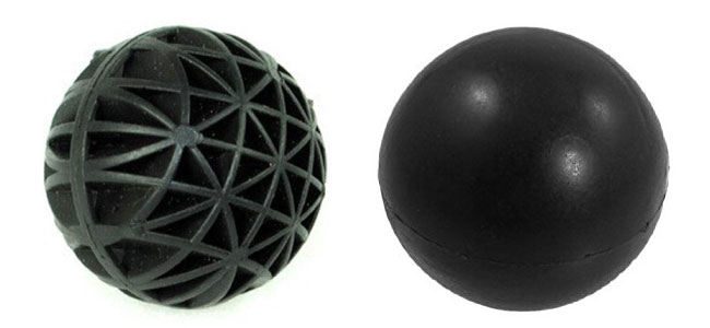 Bio ball vs regular plastic ball side by side