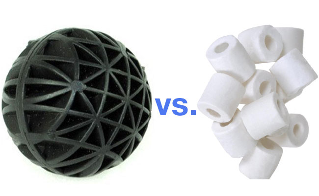 Bio balls vs ceramic ring noodles aquarium filter media