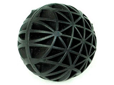 Closeup on black plastic bio ball open structure