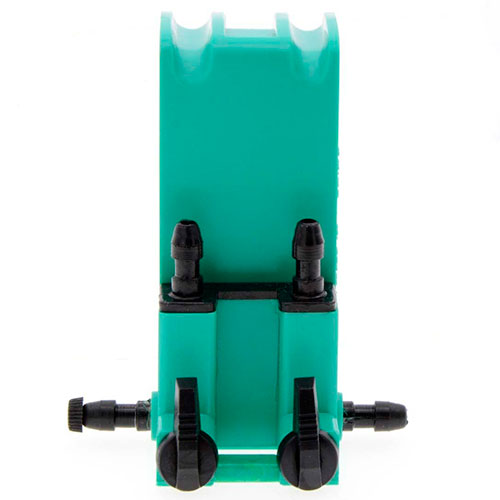 Green plastic 2-way gang valve for aquarium airline