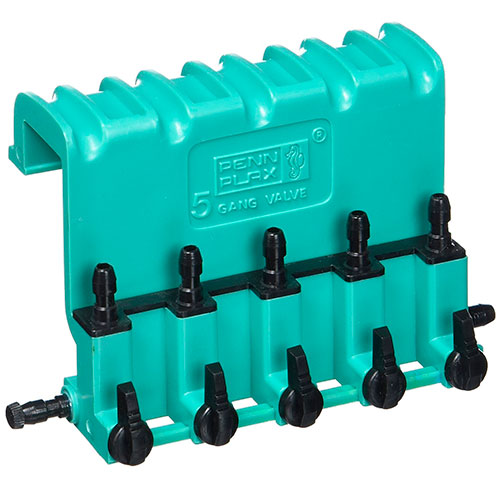Penn Plax 5-way gang valve in green plastic