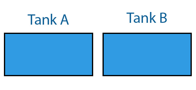 Surface area of two aquarium tanks diagram