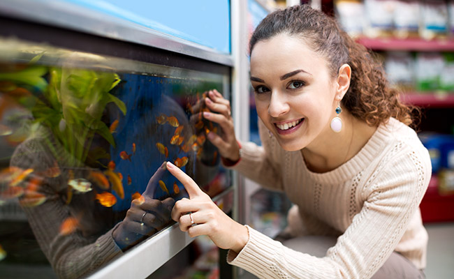 Woman choosing a tank from her local fish store