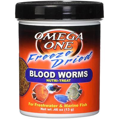 A container of freeze-dried bloodworms fish food