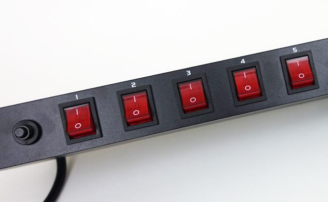 ADJ rack-mounted power strip switches