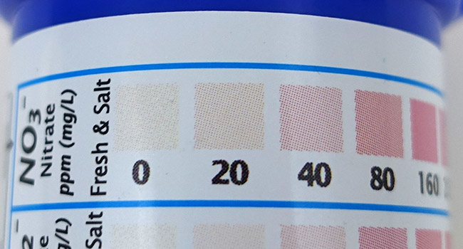 Aquarium test strips nitrate color chart