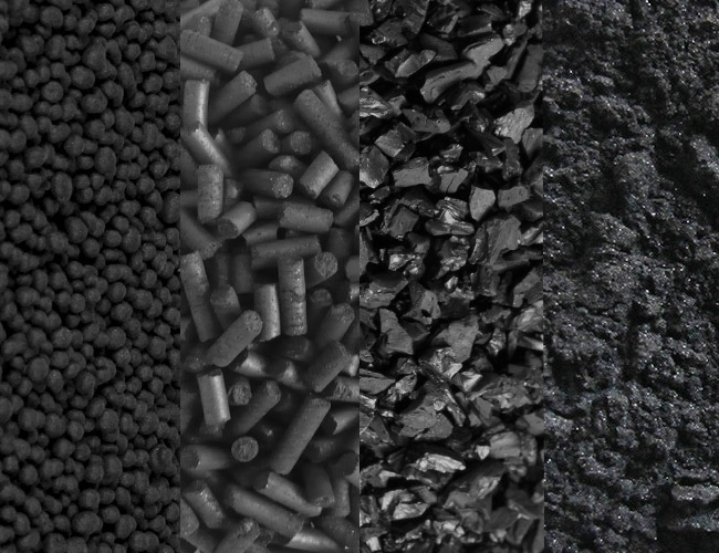 The different types of activated carbon found in shops