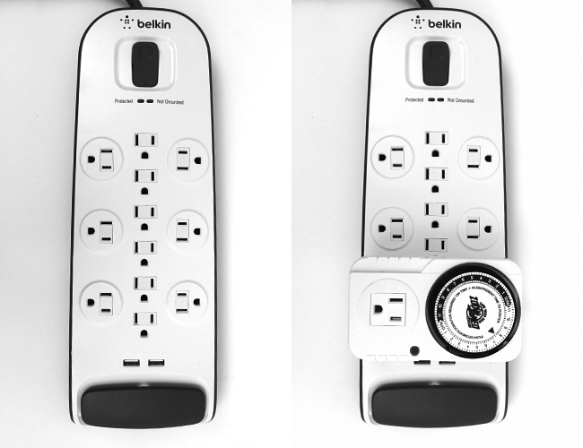 Aquarium power strip sockets being covered by Zoo Med timer