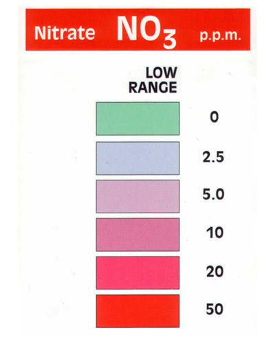 NO3 nitrate color match card from aquarium test kit