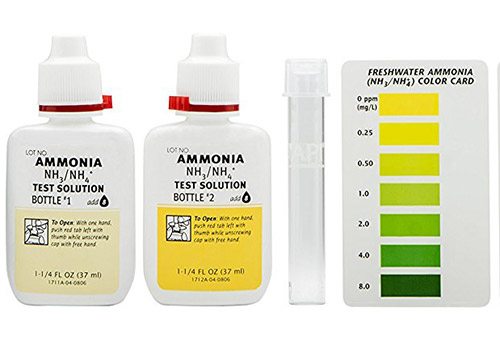 API test solution, test tube and color card from ammonia test kit