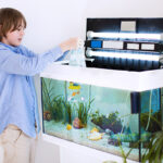 Boy performing fish-in cycle with goldfish inside tank