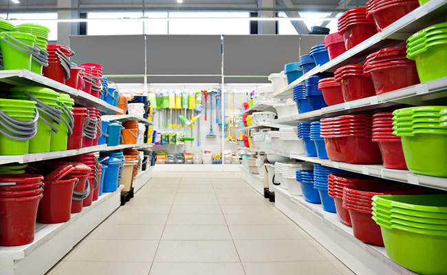 Different-sized buckets on the shelf of local store