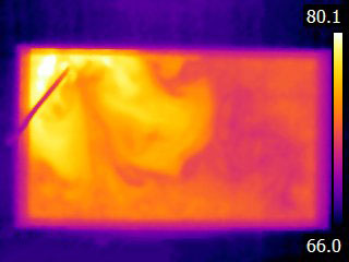 Thermal image of aquarium heater as it warms up water in tank
