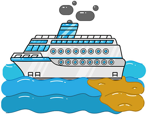 Cruise ship dumping sewage into water