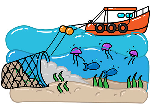 Destructive fishing boat using drag net