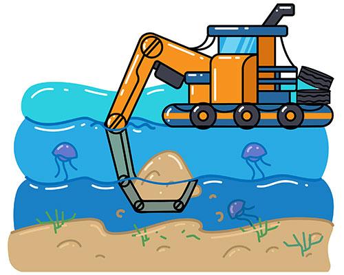 Digger dredging harbor sand