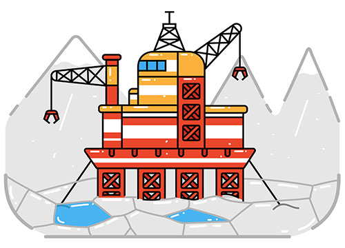 Drilling for oil in the Arctic - oil rig surrounded by ice