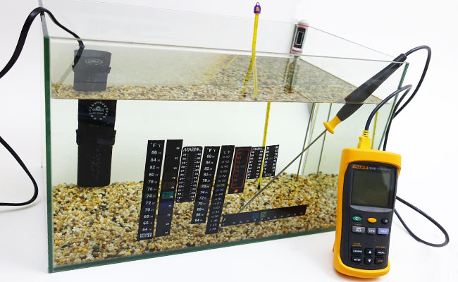 Testing stick on thermometer strips in aquarium with calibrated thermometer