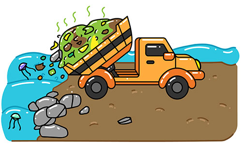 Dump truck emptying rubbish and trash into ocean