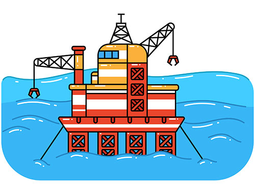 Offshore oil rig drilling for oil in ocean