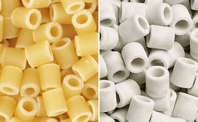 Pasta compared to ceramic rings used in aquarium