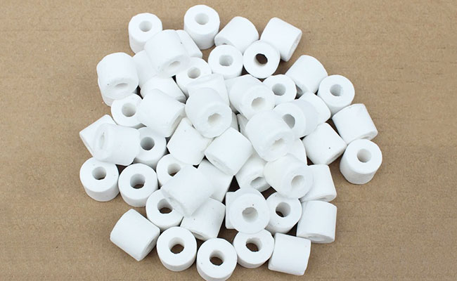 A pile of ceramic rings ready to be used as bio media in aquarium filter