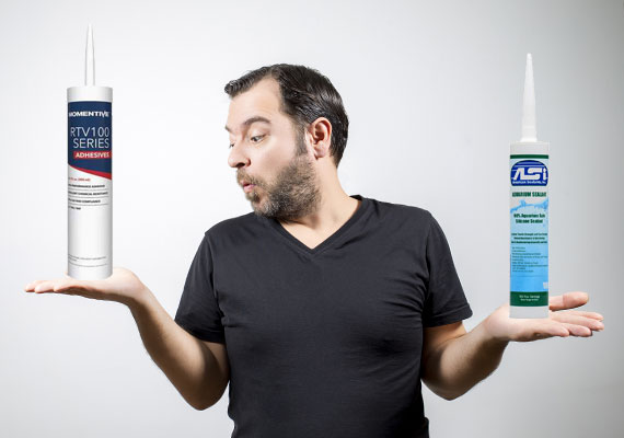 Man comparing an adhesive to silicone to use on his aquarium