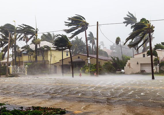 Hurricane storm resulting in flooded streets and power loss