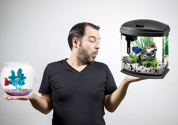 Man comparing a betta bowl that is too small to a larger-sized betta tank